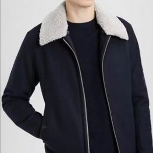Theory Men's Wool Bomber Jacket  Removable Collar